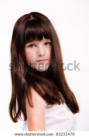 portrait of beautiful little girl with luxuriant healthy long hair - stock photo