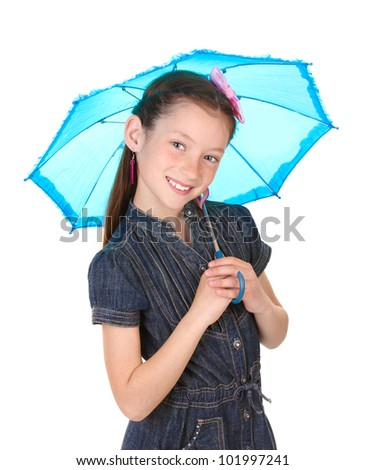 Portrait of beautiful little girl with umbrella Isolated on white