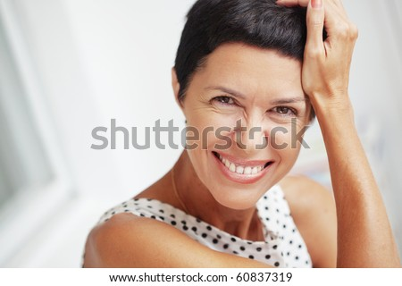 Portrait of beautiful middle aged woman