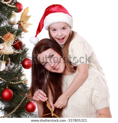 Portrait of beautiful mother and little girl  - stock photo