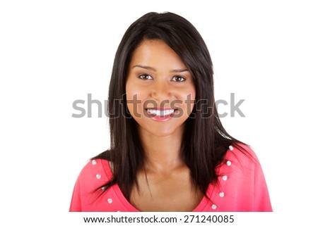 Portrait of beautiful mulato woman smiling. - stock photo