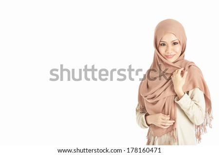 portrait of beautiful muslim woman, isolated white - stock photo