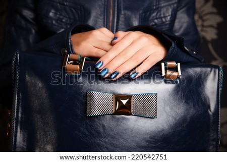 Portrait of beautiful nail polished hands - stock photo