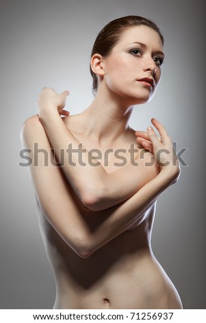 Portrait of beautiful naked woman - stock photo