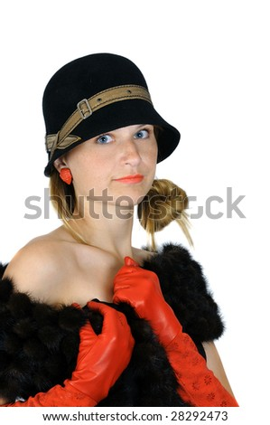 portrait of beautiful posing girl in hat and red gloves, isolated on white - stock photo