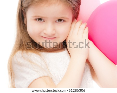 Portrait of beautiful preschool child with balloon, isolated on white background.