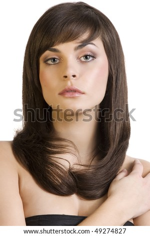 Portrait of beautiful pretty girl with smooth dark long hair - stock photo