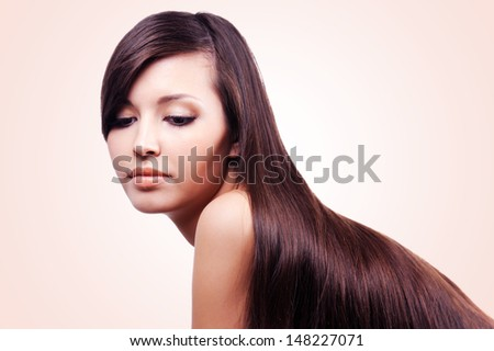 portrait of beautiful pretty young girl with long hairs - stock photo