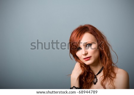 Portrait of beautiful red caucasian girl. - stock photo