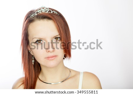 Portrait of beautiful red hair bride - stock photo