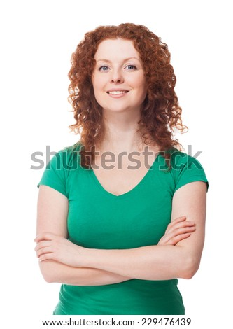 Portrait of beautiful redhead woman - stock photo
