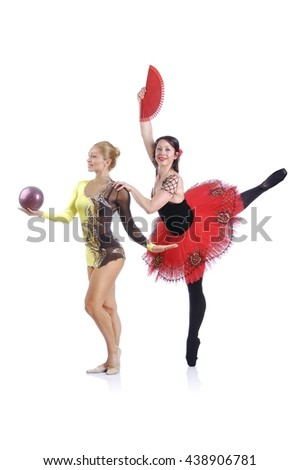 Portrait of beautiful rhythmic gymnast and ballerina performing art elements - stock photo