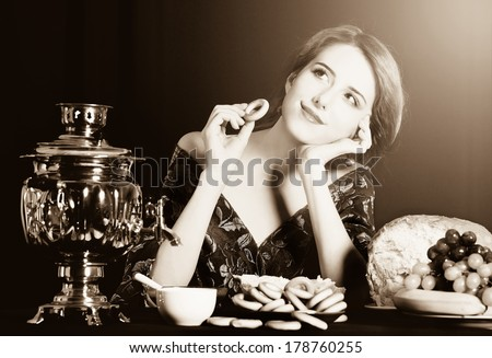 Portrait of beautiful rich russian women. Photo in old color image style. - stock photo