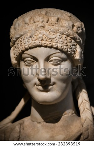 Portrait of beautiful Roman woman realized in stone, Rome, Italy, 2014
