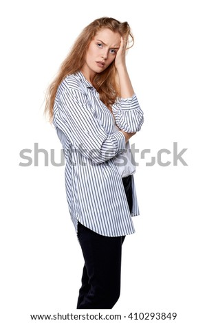 Portrait of beautiful sad woman, over white background - stock photo
