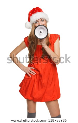 Portrait of beautiful Santa woman proclaiming into the loudspeaker, isolated on white background - stock photo