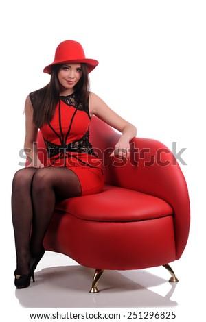 Portrait of Beautiful Sensual Woman  - stock photo