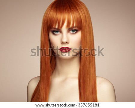 Portrait of beautiful sensual woman with elegant hairstyle.  Perfect makeup. Redhead girl. Fashion photo - stock photo