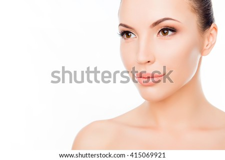 Portrait of beautiful sensual woman wth smooth skin on face - stock photo