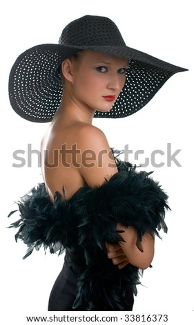 Portrait of beautiful serenity women in black hat and boa. Isolation on white background