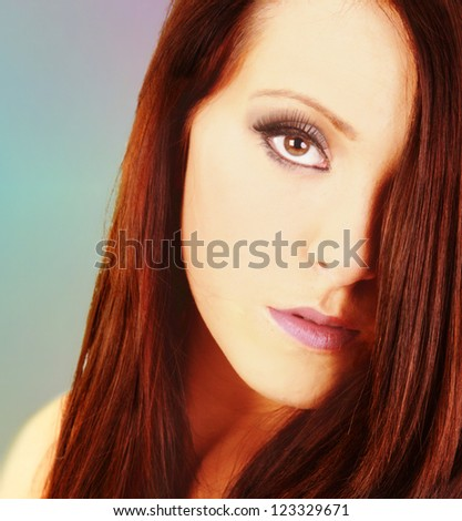 Portrait of beautiful, serious looking woman - stock photo
