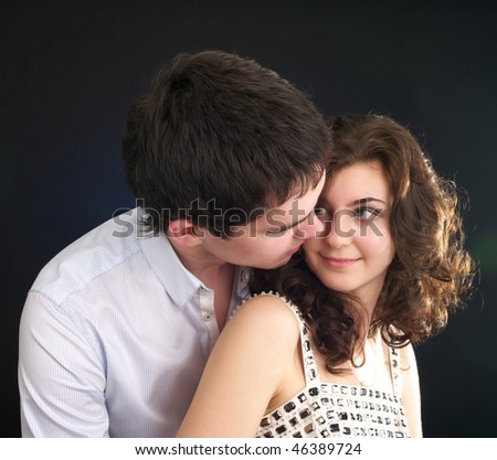 Portrait of beautiful sexual couple in the party - stock photo