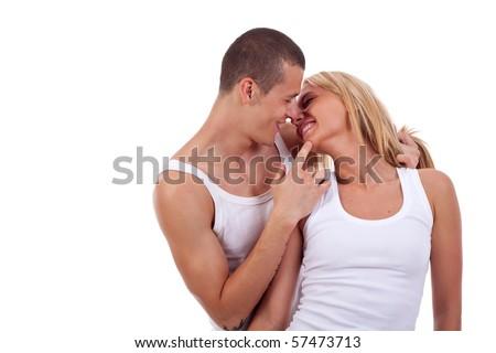 Portrait of beautiful sexual couple posing at studio - stock photo