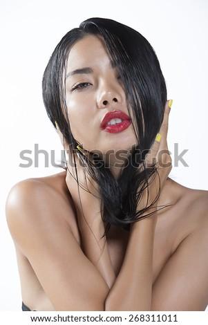 Portrait of beautiful sexy asian girl - stock photo