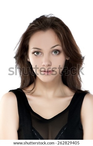 Portrait of beautiful sexy brunette girl on a white background - stock photo