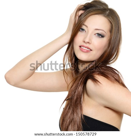 Portrait of beautiful sexy fashion model with long hair - isolated on white background - stock photo