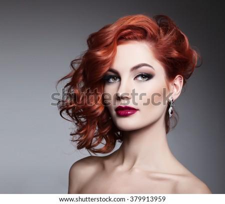 Portrait of beautiful sexy girl - stock photo