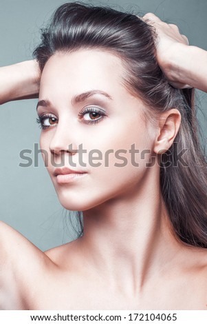 Portrait of beautiful sexy glamour woman clean skin face
