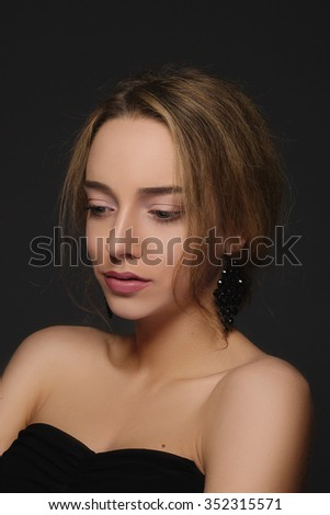 Portrait of beautiful sexy woman with nude make-up