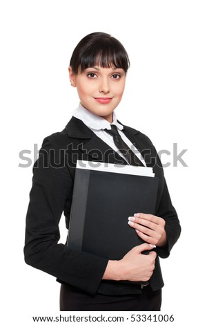 portrait of beautiful smiley secretary with folder of documentations - stock photo