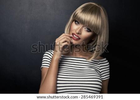 Portrait of beautiful smiling  blonde woman  - stock photo