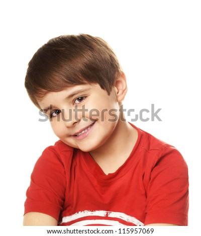 Portrait of beautiful smiling boy isolated on white background - stock photo