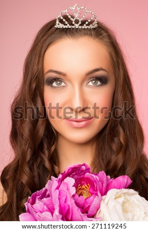 Portrait of beautiful smiling bride - stock photo