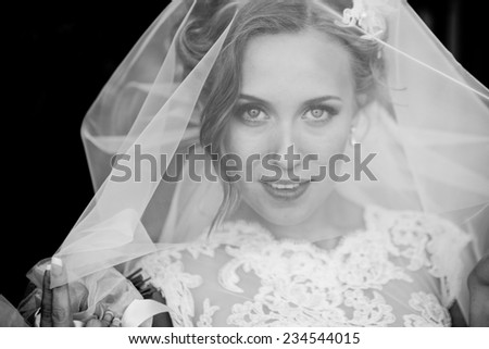 Portrait of beautiful smiling bride behind a veil
