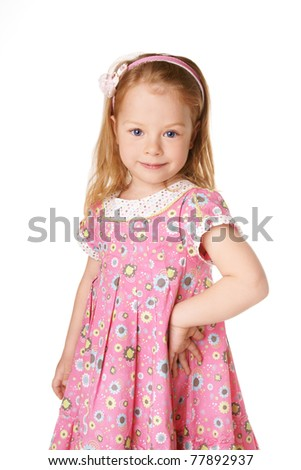Portrait of beautiful smiling cute little girl isolated on white background