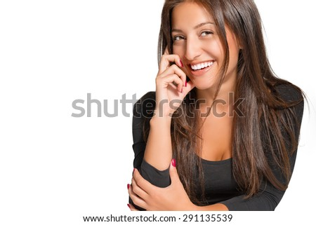 Portrait of beautiful smiling woman on a white background - stock photo