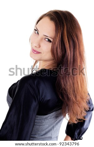 Portrait of beautiful smilling woman isolated on white - stock photo
