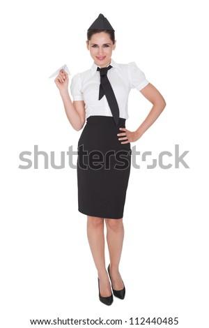 Portrait of beautiful sophisticated stylish stewardess. Isolated on white - stock photo