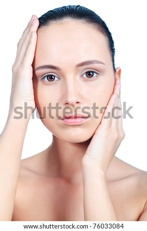 Portrait of beautiful spa girl. Isolated over white background. - stock photo