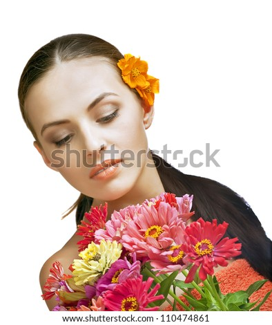 portrait of beautiful spa woman with flowers - stock photo