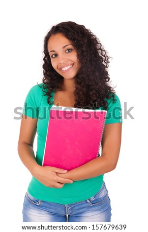 Portrait of beautiful student girl with books - stock photo