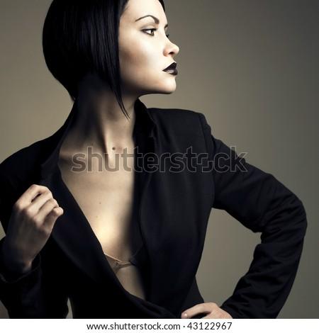 Portrait of beautiful stylish lady. Studio fashion photo - stock photo