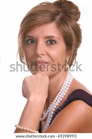 Portrait of beautiful stylish woman on white background - stock photo
