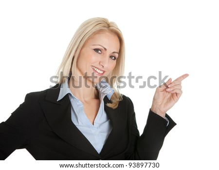 Portrait of beautiful successful businesswoman. Isolated on white - stock photo
