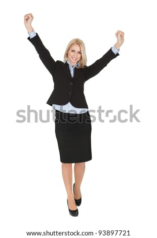 Portrait of beautiful sucessful businesswoman. Isolated on white - stock photo