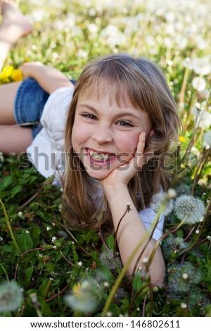 Portrait of beautiful summer girl outdoor - stock photo